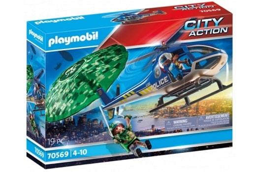 Hélicoptère de police et parachustiste Playmobil